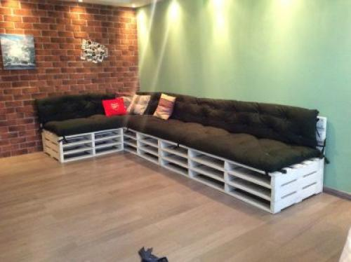 Раскладной диван из поддонов. Финишная обработка