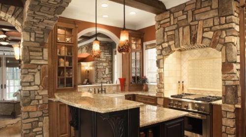 Дизайн кухни с декоративным камнем. Отделка кухонь обоями и декоративным камнем