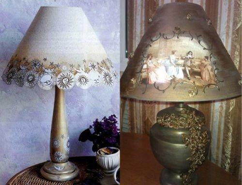 Декор настольных ламп своими руками