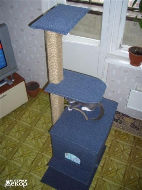 Как сделать дом для кота своими руками с когтеточкой фото