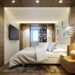 Интерьер спальни совмещенной с балконом.