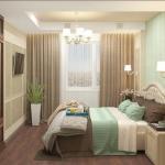 Проект дизайна интерьера спальни, выполнен в неоклассическом стиле для молодой семьи.