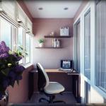 Дизайн кабинета на балконе.