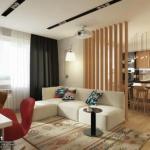 Интерьер однокомнатной квартиры - студии 42 кв.