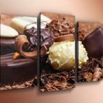 """Модульная картина на холсте с подрамником """"Шоколад""""."""
