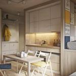 Непринуждённый дизайн интерьера маленькой квартиры около 40 кв.