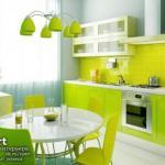 Салатовый цвет в интерьере кухни.