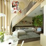 Эта двухуровневая квартира примечательна не только стильным и уютным дизайном, но и оригинальным способом озеленения.
