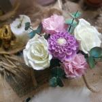 Интерьерный букет из цветов ручной работы из фоамирана, прекрасно дополнит и украсит интерьер столовой, гостинной или спальни.