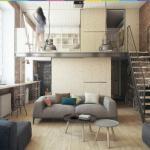 Молодежный интерьер двухуровневой квартиры - студии ч. 1.